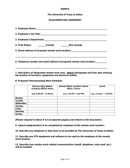 Sample UTD Telecommuting Agreement