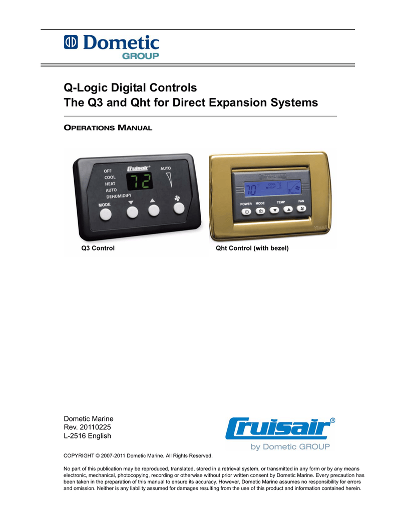 Q Logic Digital Controls The Q3 And Qht For Direct Expansion Systems Cruisair Marine Ac Wiring Diagram