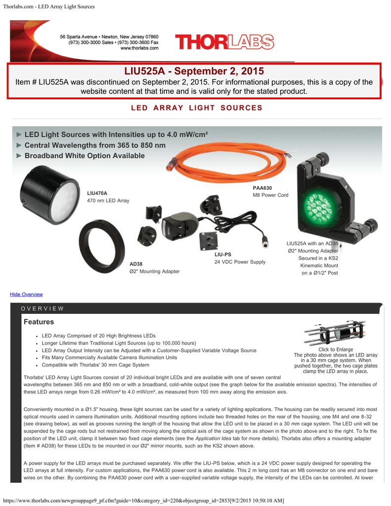 Thorlabs com - LED Array Light Sources