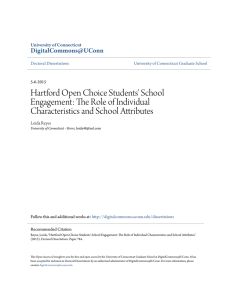 Hartford Open Choice Students` School Engagement: The Role of