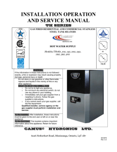 INSTALLATION OPERATION AND SERVICE MANUAL