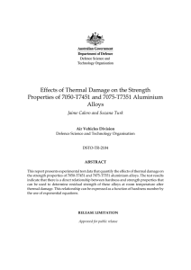 Effects of Thermal Damage on the Tensile Strength of 7050