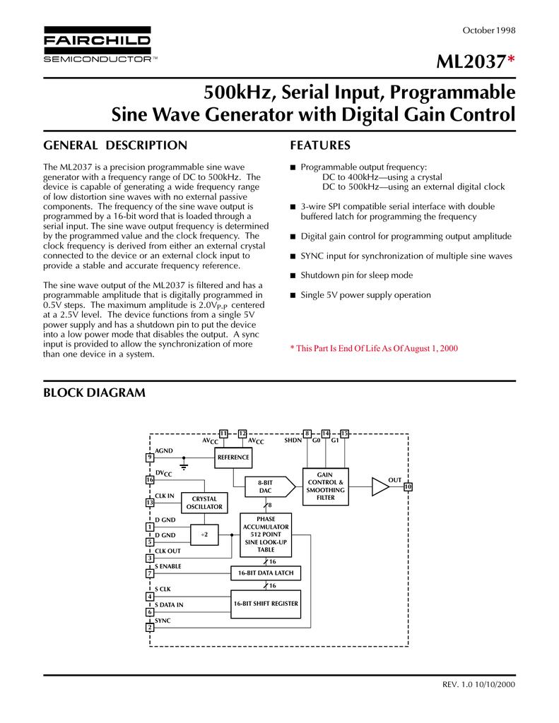 ML2037 500kHz, Serial Input, Programmable Sine Wave Generator