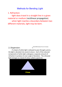 1. Refraction: ‐ light does travel in a straight line in a given material