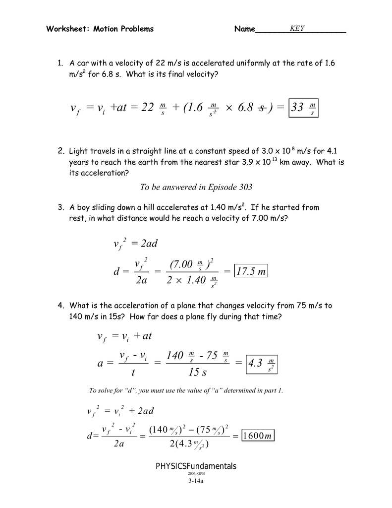 worksheet Motion Problems Worksheet 3 14ab motion problems wkst key