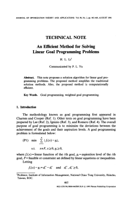 An efficient method for solving linear goal programming problems