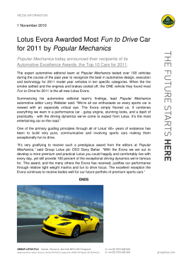 Lotus Evora Awarded Most Fun to Drive Car for 2011 by Popular
