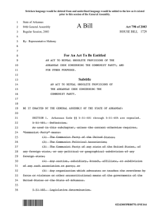 *ONE164* A Bill - Arkansas General Assembly