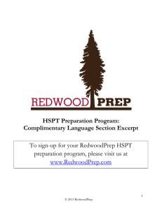 HSPT Preparation Program: Complimentary Language Section