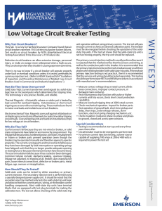 Low Voltage Circuit Breaker Testing