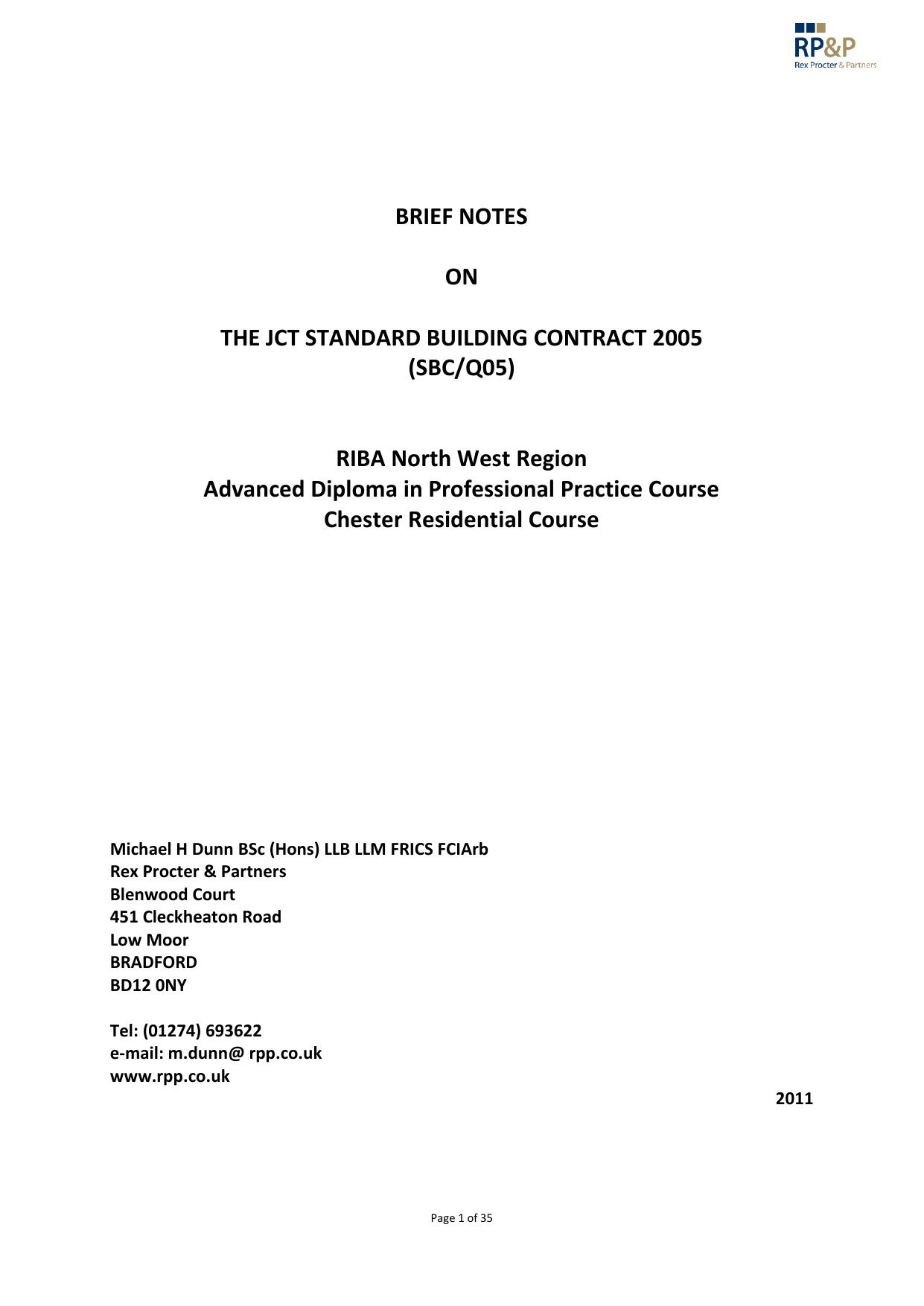 Brief Notes On The Jct Standard Building