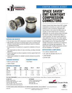 Space Saver EMT Connectors Sell Sheet - Nedco
