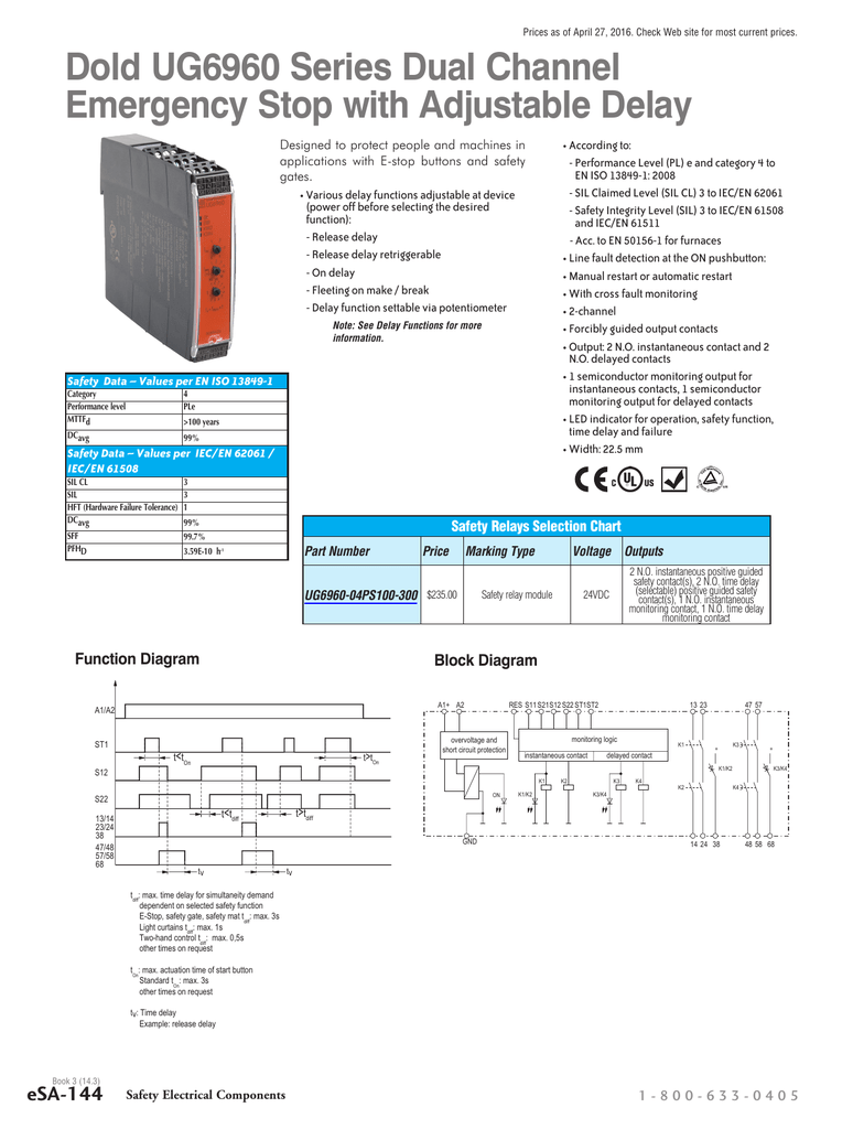 Dold Ug6960 Series Dual Channel E Stop With Estop Relay Wiring Diagram