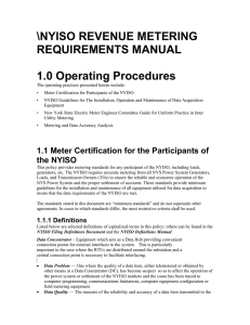 \NYISO REVENUE METERING REQUIREMENTS MANUAL 1.0