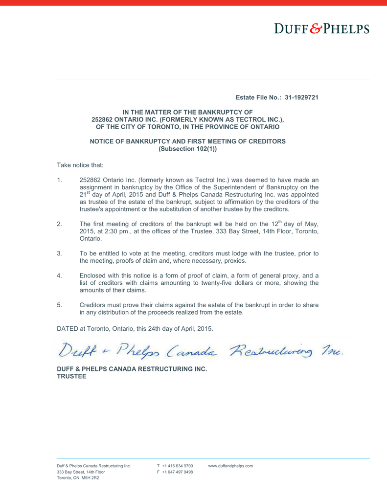 Notice of bankruptcy and first meeting of creditors spiritdancerdesigns Gallery