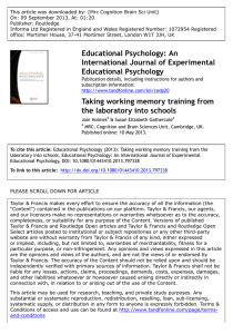 Educational Psychology: An International Journal of Experimental