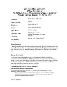 KIN 191B Advanced Assessment of Upper Extremity Injuries