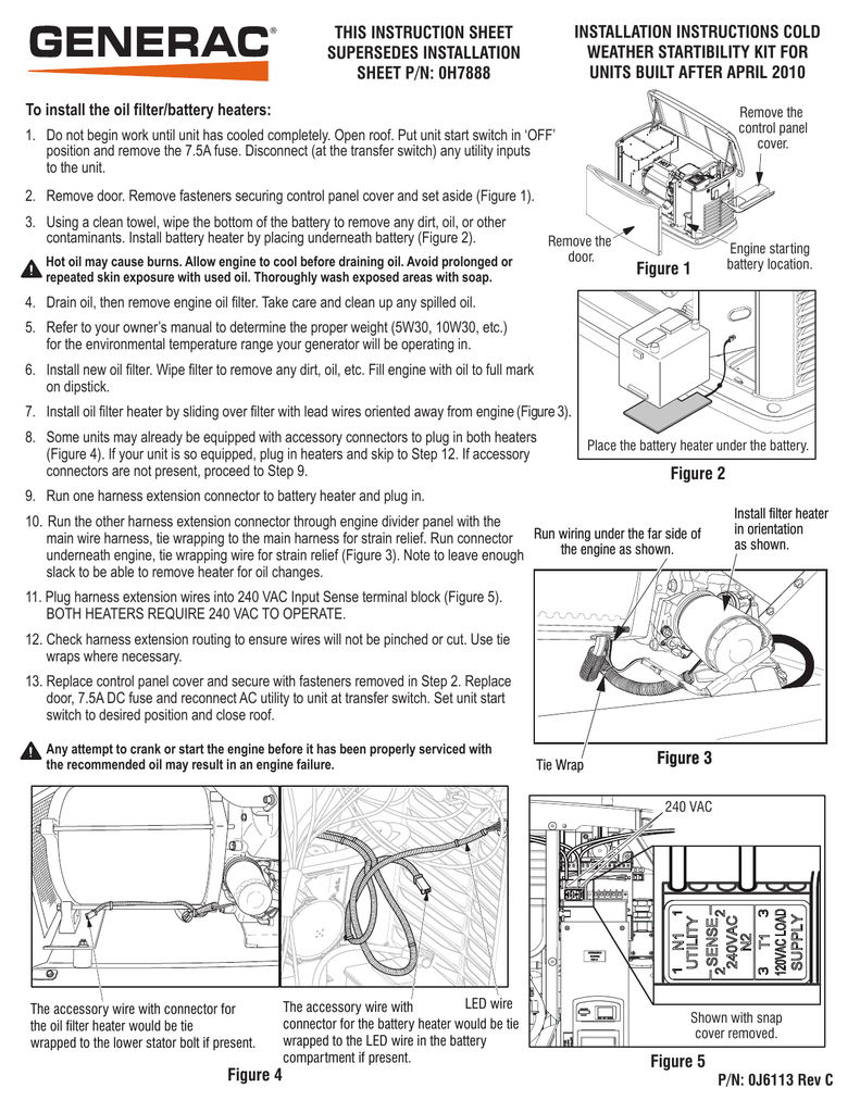 Installation Instructions Cold Weather Startibility Generac Wiring Harness Connectors
