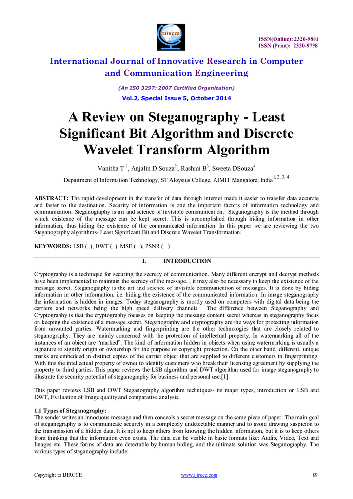 A Review on Steganography - Least Significant Bit
