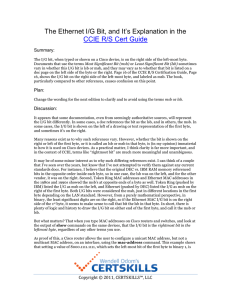 The Ethernet I/G Bit, and It`s Explanation in the CCIE R/S