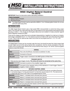 MSD 8975 Timing Retard Control Installation Instructions