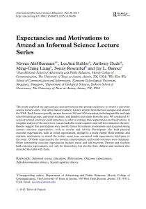 Expectancies and Motivations to Attend an Informal Science Lecture