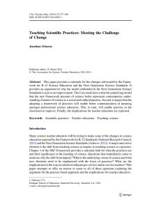 Teaching Scientific Practices: Meeting the Challenge of
