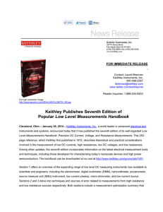 Keithley Publishes Seventh Edition of Popular Low Level