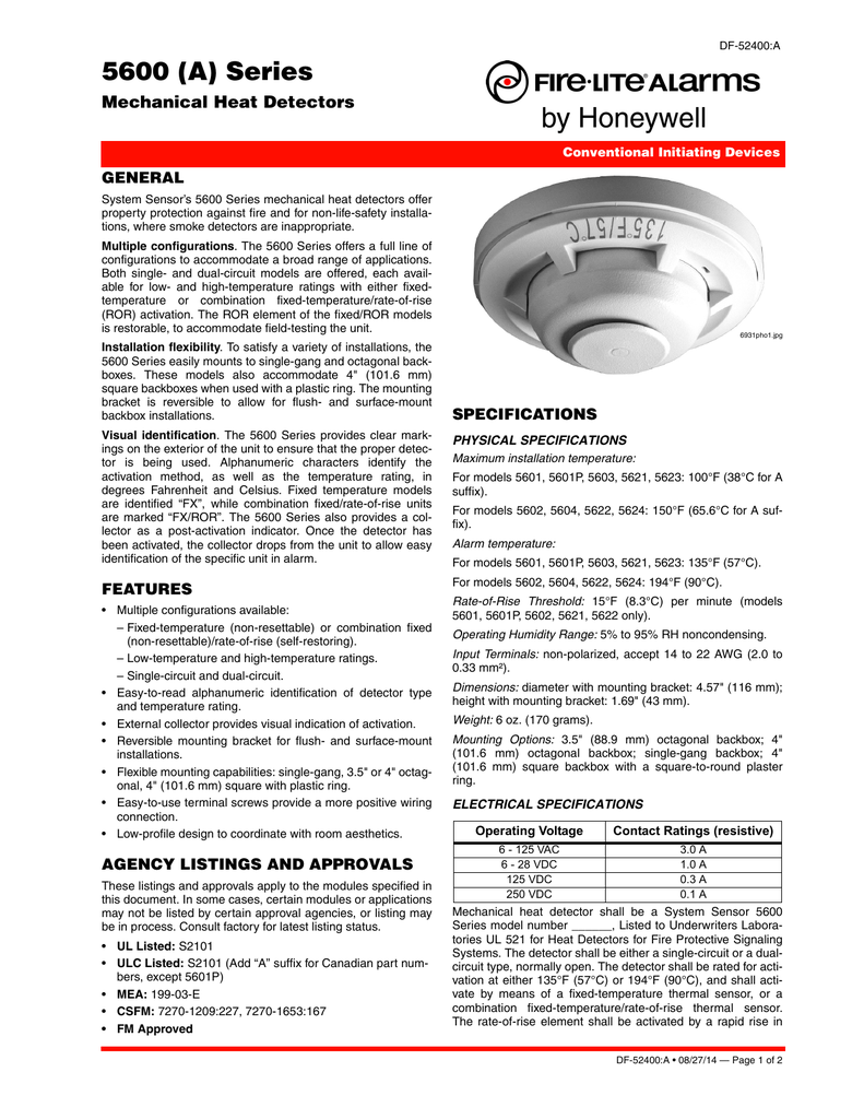 5600 (A) Series - Fire-Lite Alarms by Honeywell
