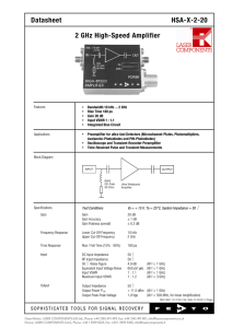 Datasheet HSA-X-2-20 2 GHz High-Speed Amplifier