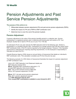Pension Adjustments and Past Service Pension Adjustments