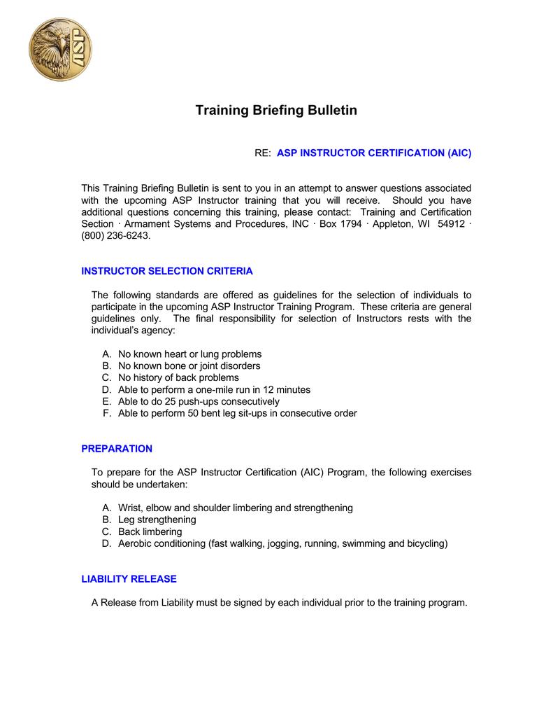 Training Briefing Bulletin