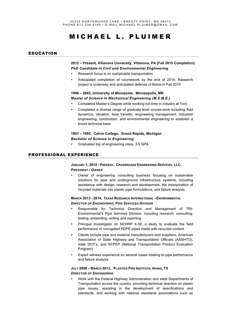 Resume Crossroads Engineering Services