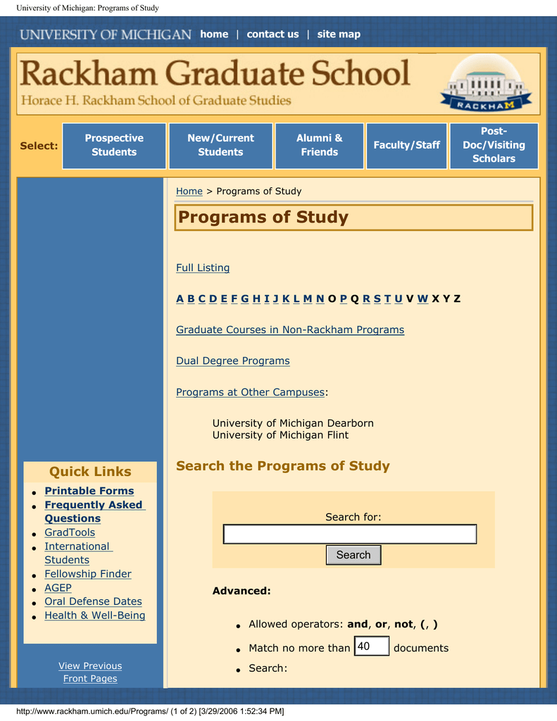 University of Michigan: Programs of Study