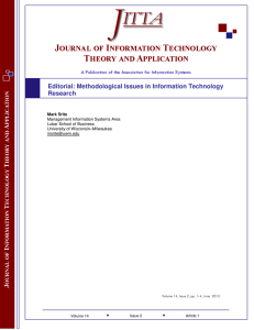 Editorial: Methodological Issues In Information Technology Research
