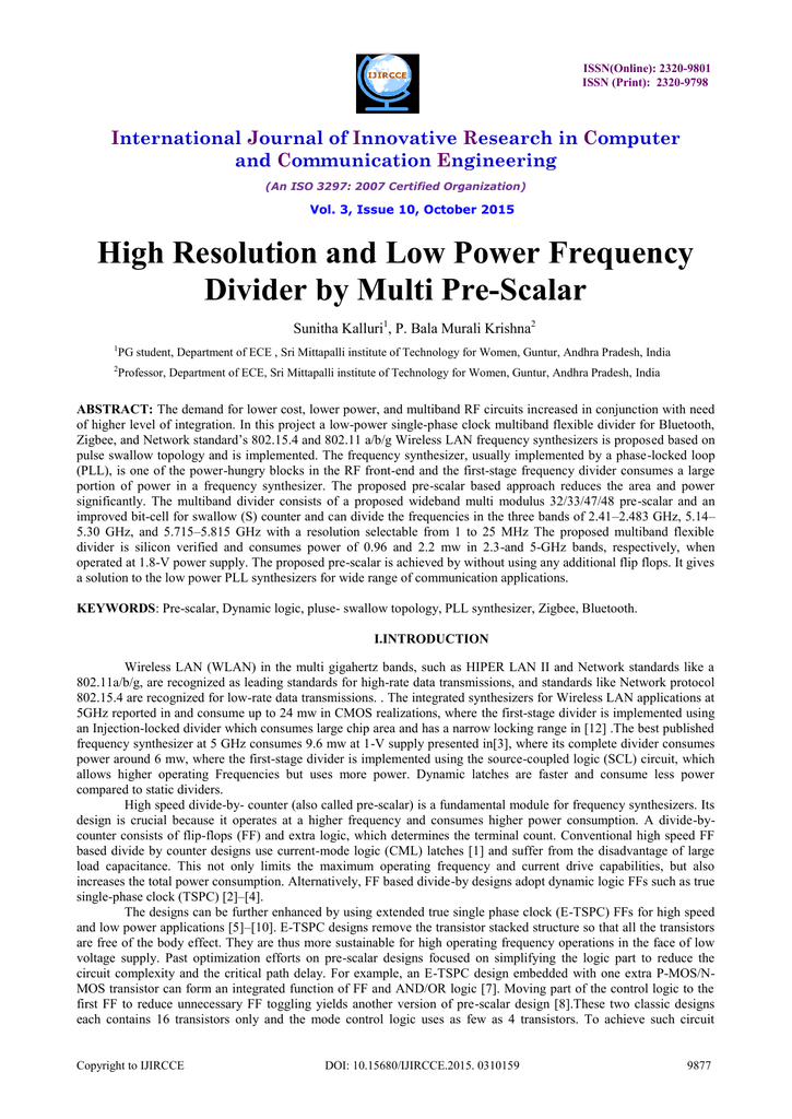 High Resolution and Low Power Frequency Divider by