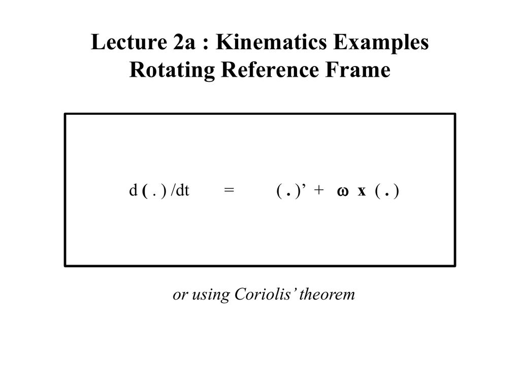 Template 2a : Kinematics - Rotating reference frames examples
