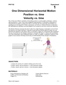 One Dimensional Horizontal Motion Position vs. time Velocity vs. time