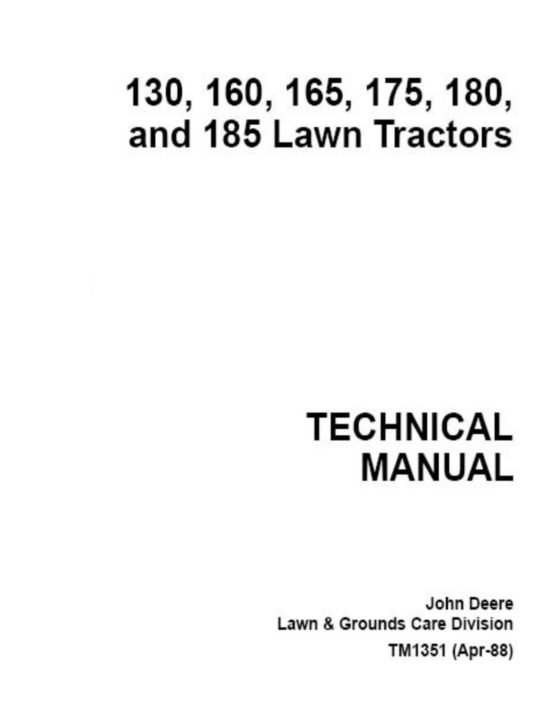 John Deere 175 Hydro Technical Manual Kawasaki Fc420v 14 Hp Wiring Diagram