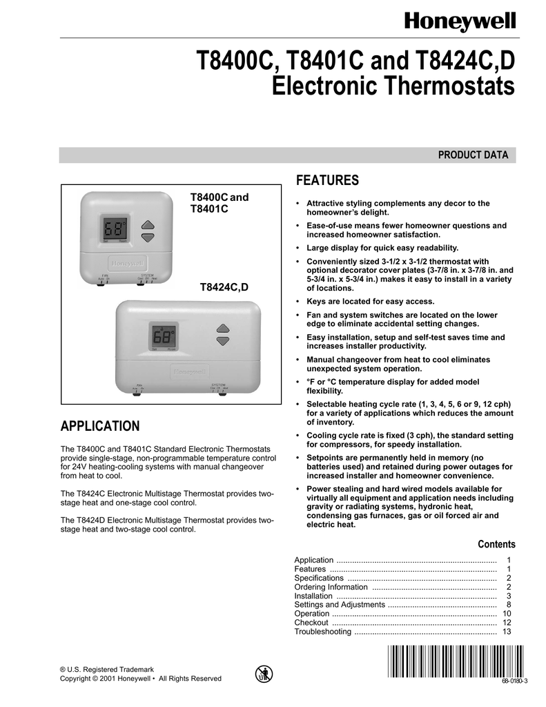 T8400C, T8401C and T8424C,D Electronic Thermostats on