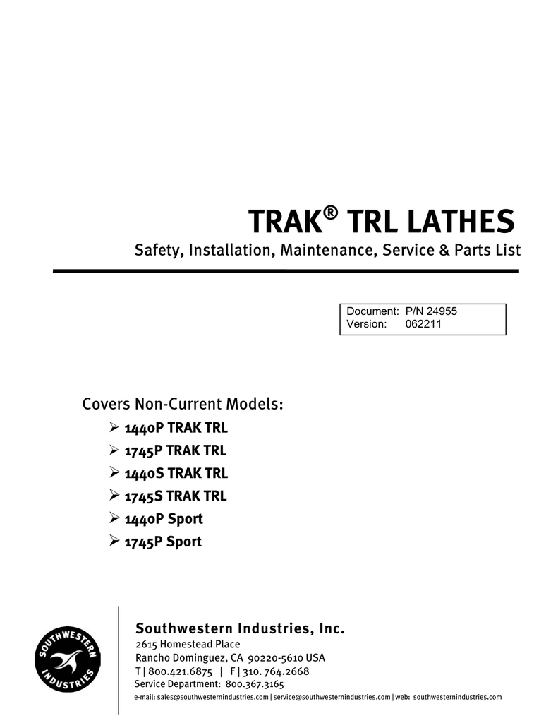 Lathes Safety Install Maint Service Parts Manual Southwestern Table Lamps Lamp Light Socket Diagram