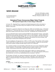 NEWS RELEASE - Dairyland Power Cooperative