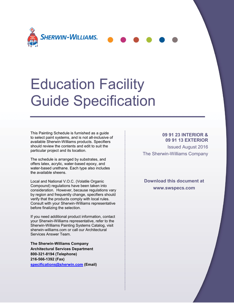 Education Facility Guide Specification - Sherwin