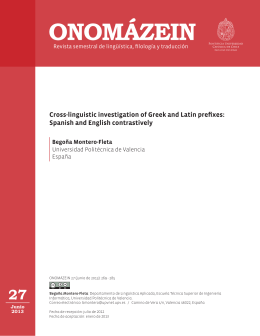 Cross-linguistic investigation of Greek and Latin prefixes