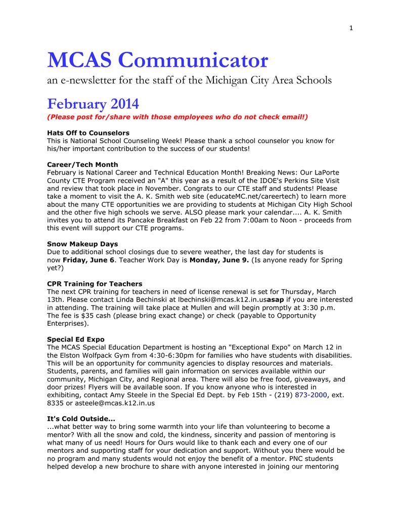 MCAS Communicator - Michigan City Area Schools