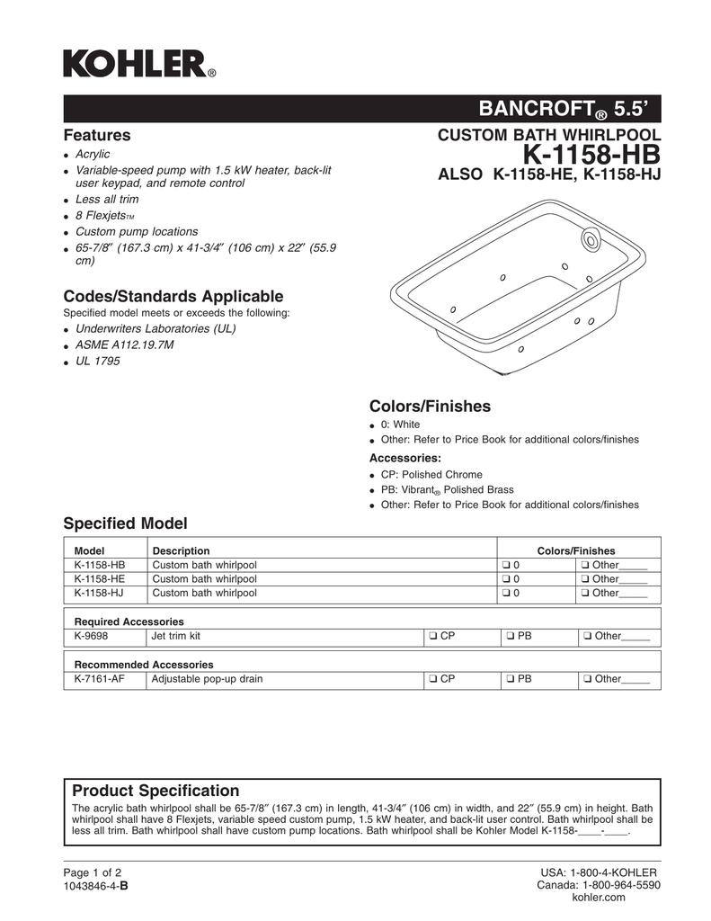 K-1158-HB - pdf lowes com