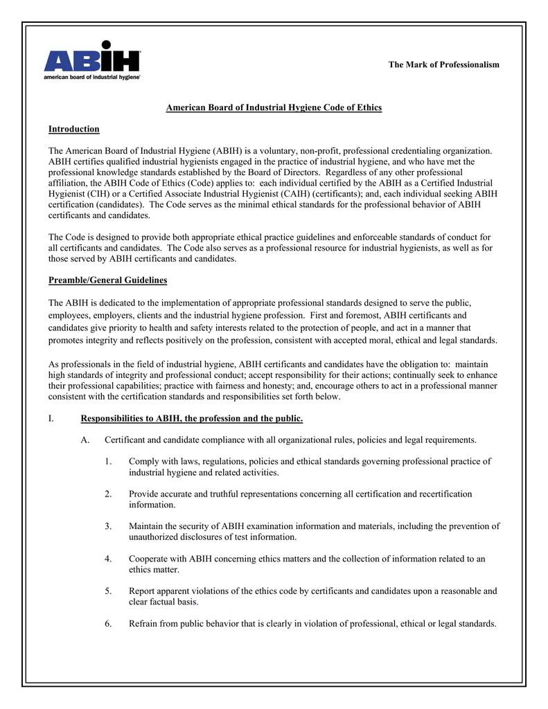 Abih Code Of Ethics American Board Of Industrial Hygiene
