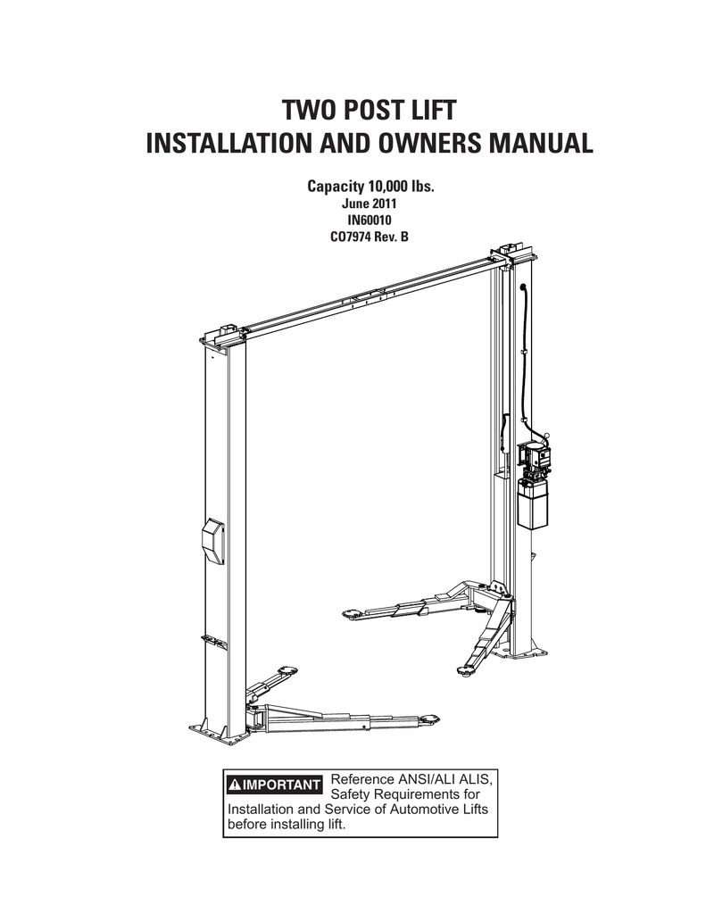 two post lift installation and owners manual   Two Post Car Lift Schematic      StudyLib