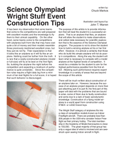 Science Olympiad Wright Stuff Event Construction Tips