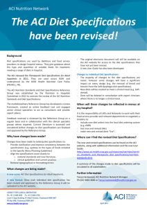 Factsheet - Revision of the Diet Specifications for Adult Inpatients
